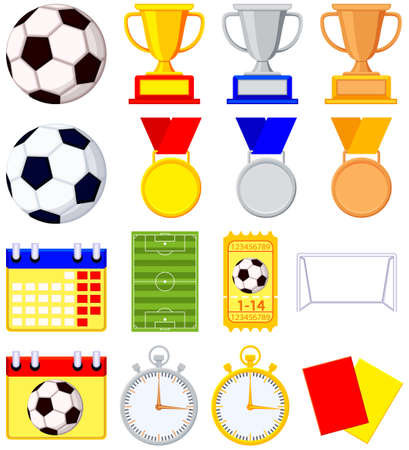 Soccer football game cartoon icon 16 element set. Sport vector illustration for gift card, flayer, certificate banner, icon, logo, patch sticker Ilustracja