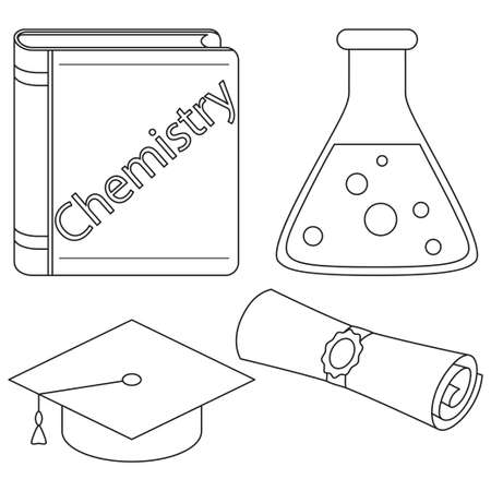 Chemistry mastering study icon set. Line art black and white textbook test tube graduation diploma scroll and hat. Education theme vector illustration for sticker, stamp, logo, label, patch, sticker Illustration