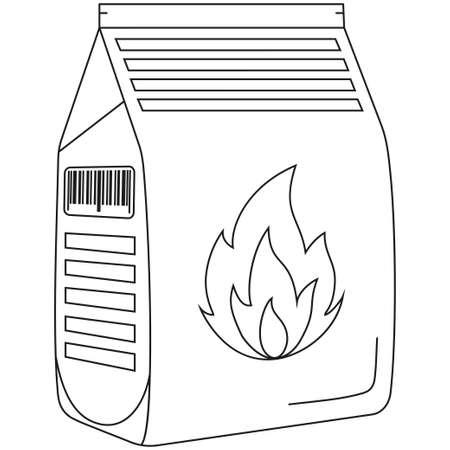 Line art black and white coal bag. Outdoors recreation vector illustration. Illustration