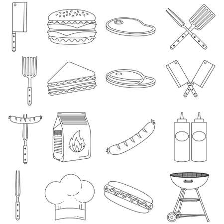 bbq element set. Food themed vector illustration for gift card certificate sticker, badge, sign, stamp, logo, label, icon, poster, patch