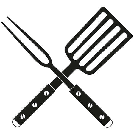 Barbecue fork spatula cross wooden handle silhouette. Outdoors cooking vector illustration for gift card certificate banner sticker, badge, sign, stamp, logo, label, icon, poster, patch. Illustration