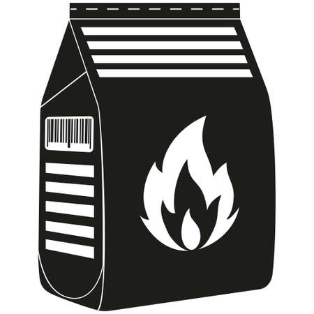 Black and white coal bag silhouette. Outdoors recreation vector illustration for gift card certificate banner sticker, badge, sign, stamp, logo, label, icon, poster, patch Stock Photo