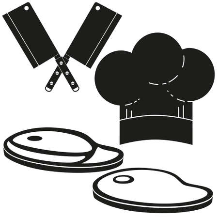 Black and white steak cooking silhouette set. Food themed vector illustration for gift card certificate sticker.