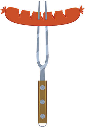 Colorful cartoon hot dog sausage on fork. Comfort fastfood vector illustration for gift card certificate banner sticker, badge, sign, stamp, logo, label, icon, poster, patch