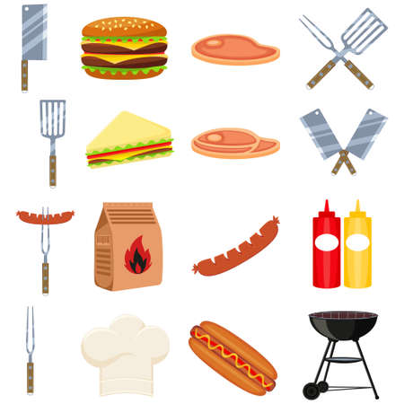 Colorful cartoon bbq outdoors 16 element set. Food themed vector illustration for gift card certificate sticker, badge, sign, stamp, logo, label, icon, poster, patch Vectores