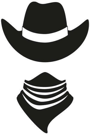 Black and white cowboy avatar silhouette. Hat and bandana scarf. Wild west vector illustration for gift card certificate sticker, badge, sign, logo, label, icon, poster, patch, banner invitation