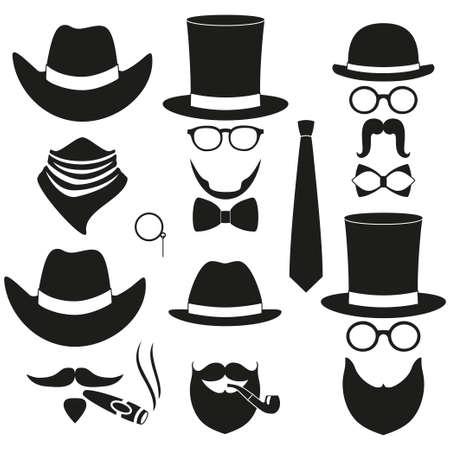 Black and white 6 silhouette man avatar element set. Hipster vector illustration for gift card certificate sticker.