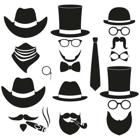 Black and white 6 silhouette man avatar element set. Hipster vector illustration for gift card certificate sticker.