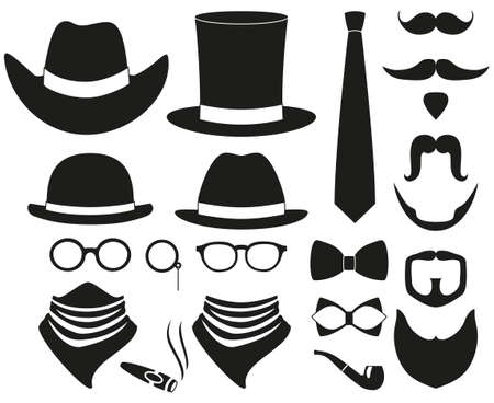 Black and white hipster 21 silhouette element set. Fashion vector illustration for gift card certificate sticker.  イラスト・ベクター素材