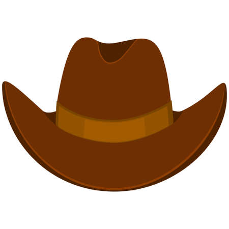 Colorful cartoon cowboy hat. Wild west vector illustration for gift card certificate sticker, badge, sign, stamp, logo, label, icon, poster, patch, banner invitation