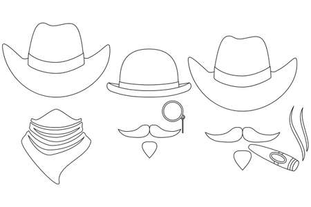 Line art black and white 3 western cowboy avatar set. Wild west vector illustration for gift card certificate sticker, badge, sign, stamp, logo, label, icon, poster, patch, banner invitation