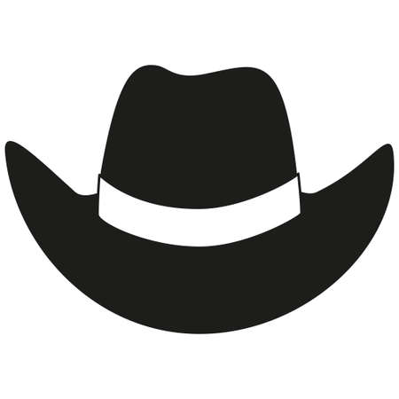 Black and white cowboy hat silhouette. Wild west vector illustration for gift card certificate sticker, badge, sign, stamp, logo, label, icon, poster, patch, banner invitation
