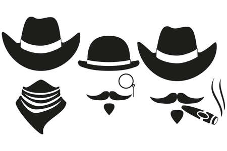Black and white 3 western cowboy silhouette avatars set. Wild west vector illustration for gift card certificate sticker, badge, sign, stamp, logo, label, icon, poster, patch, banner invitation
