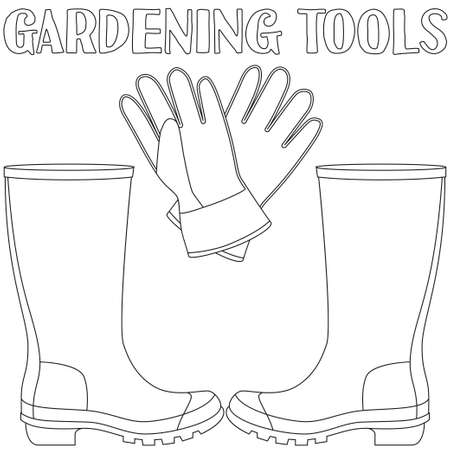 Line Art Black And White Protective Clothing Rubber Boots Gloves Coloring Book Page For
