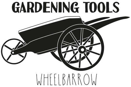 Black and white wheelbarrow silhouette. Garden tool vector illustration gift card certificate sticker, badge, sign, stamp, logo, label, icon, poster, patch, banner invitation