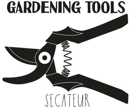 Black and white secateur silhouette. Garden tool vector illustration gift card certificate sticker, badge, sign, stamp, logo, label, icon, poster, patch, banner invitation Иллюстрация