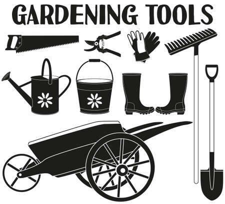 Black and white garden silhouette set 9 elements. Garden tool vector illustration gift card certificate sticker, badge, label, icon, poster, patch, banner invitation Stok Fotoğraf - 100731973