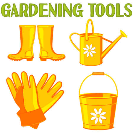 Colorful cartoon garden watering set.