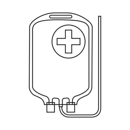Bolsa de medicina intravenosa en blanco y negro de arte lineal. Ilustración de vector de temática sanitaria para icono, pegatina, letrero, parche, insignia de certificado, tarjeta de regalo, logotipo de sello, etiqueta, cartel, banner web