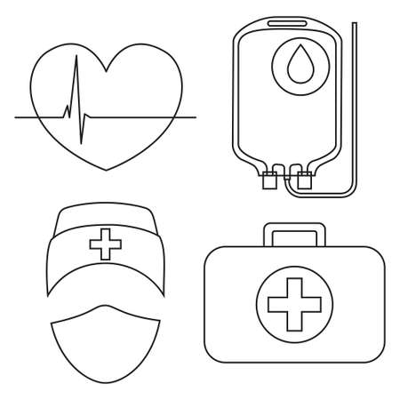 Line art black and white blood donation icon set. Healthy heart cardiogram, blood bag, medical person avatar and first aid kit. Healthcare vector illustration for sticker, certificate, label, poster