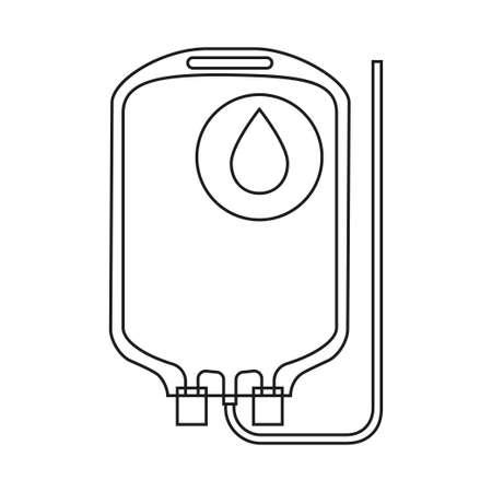 Línea de arte bolsa de donación de sangre en blanco y negro. Ilustración de vector de temática sanitaria para icono, etiqueta, cartel, parche, insignia de certificado, tarjeta de regalo, logotipo de sello, etiqueta, cartel, banner web Logos