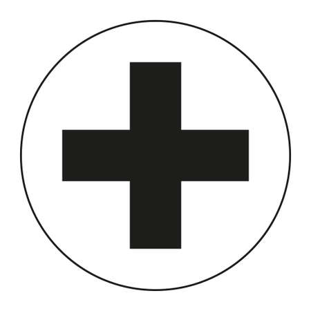 Black and white medical cross symbol silhouette. Healthcare themed vector illustration for icon, sticker, sign, patch, certificate badge, gift card, stamp , label, poster, web banner
