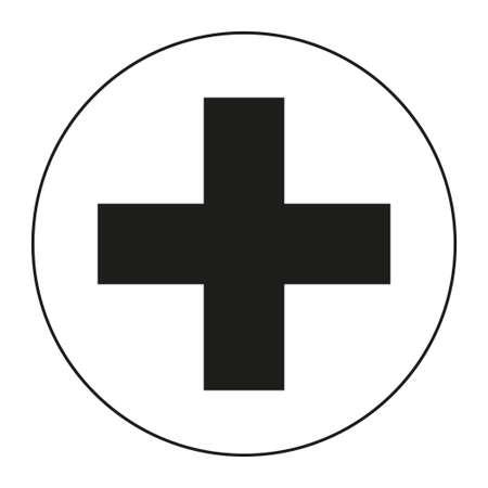 Silueta de símbolo de cruz médica en blanco y negro. Ilustración de vector de temática sanitaria para icono, pegatina, letrero, parche, insignia de certificado, tarjeta de regalo, sello, etiqueta, cartel, banner web Foto de archivo