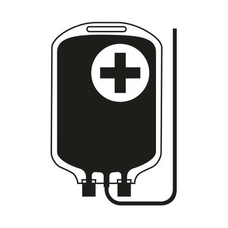 Black and white IV medicine bag silhouette. Healthcare themed. Vector illustration for icon, sticker, sign, patch, certificate badge, gift card, stamp icon, label, poster, web banner.