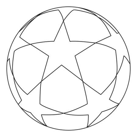 Flat black and white soccer ball star. Sport vector illustration for icon, sticker sign, patch, certificate badge, gift card, stamp icon, label, poster, web banner, flyer.