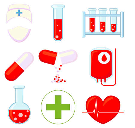 9 medical icon colorful cartoon set isolated on white background. Healthcare themed vector illustration for sticker, sign, patch, certificate badge, gift card, stamp logo, label, poster, web banner