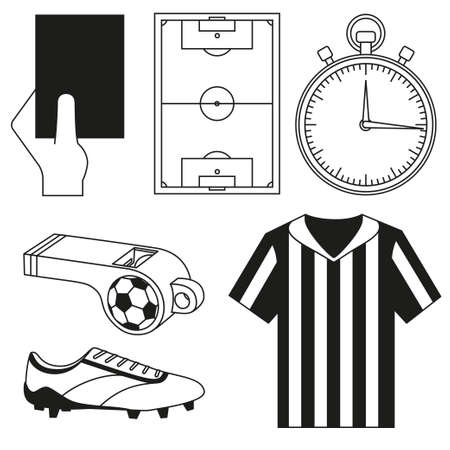 Black and white flat referee elements set. Sport theme vector illustration for icon, sticker sign, patch, certificate badge, gift card, stamp logo, label, poster, web banner, flayer