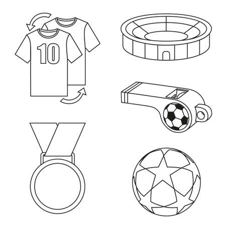 Black and white flat soccer elements set. Sport theme vector illustration for icon, sticker sign, patch, certificate badge, gift card, stamp, label, poster, web banner.