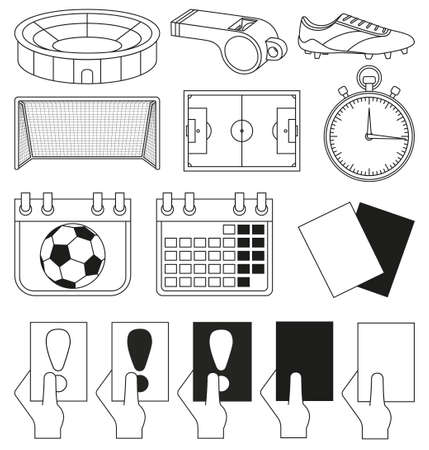 14 soccer elements black and white set. Sport vector illustration for icon, sticker sign, patch, certificate badge, gift card, stamp logo, label, poster, web banner, flayer