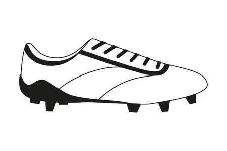 Black and white flat soccer boots. Sport theme vector illustration for icon, sticker sign, patch, certificate badge, gift card, stamp  , label, poster, web banner, flayer