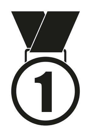 Black and white first place medal silhouette. Sport theme vector illustration for icon, sticker sign, patch, certificate badge, gift card, stamp , label, poster, web banner, flyer