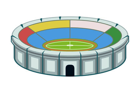 Colorful cartoon stadium. Sport theme vector illustration for icon, sticker sign, patch, certificate badge, gift card, stamp logo, label, poster, web banner, flayer invitation