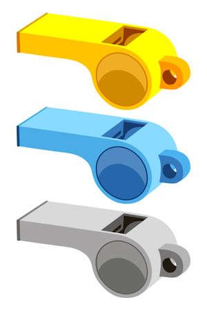 Conjunto de silbato de árbitro de dibujos animados coloridos. Ilustración de vector de tema deportivo para icono, signo de etiqueta, parche, insignia de certificado, tarjeta de regalo, logotipo de sello, etiqueta, cartel, banner web, invitación de flayer