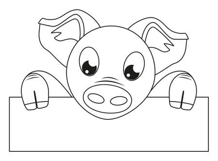 Line art black and white pig holding horizontal poster. Coloring page for adults and kids. 2019 year chinese symbol. Farm animal vector illustration for icon, certificate, gift card, stamp, poster,