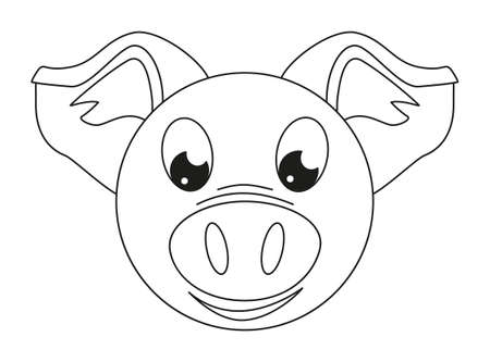 Line art black and white pig face Coloring page for adults and kids. 2019 year chinese symbol. Farm animal vector illustration for icon, sticker sign, patch, certificate, gift card, poster, web banner