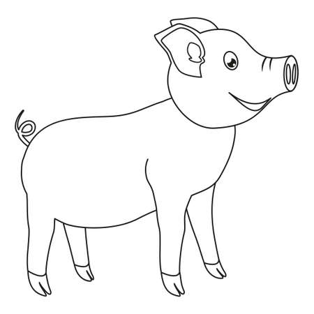 Line art black and white happy pig. Coloring page for adults and kids. 2019 year chinese symbol. Farm animal vector illustration for icon, sticker sign, certificate badge, gift card, poster,
