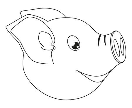 Line art black and white pig face side view. 2019 year chinese symbol Farm animal vector illustration for icon, sticker sign, patch, certificate badge, gift card, label, poster, web banner, flayer