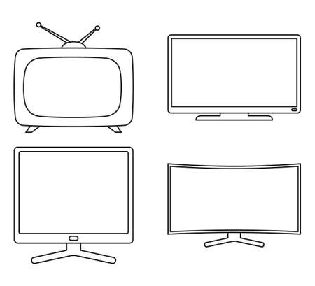 Line art black and white modern tv set. Media theme vector illustration for icon, sticker sign, patch, certificate badge, gift card, label, poster, web banner, flayer invitation
