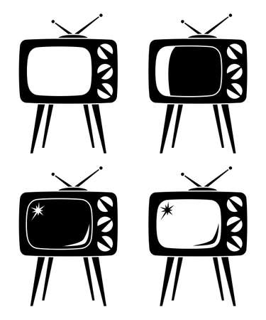 Black vintage tv on high stand silhouette set isolated on white background. Media theme vector illustration for icon, sticker sign, certificate badge, gift card, label, poster, web banner, flayer Vectores