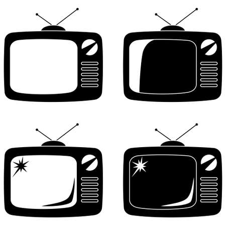 Black vintage tv silhouette set isolated on white background. Media theme vector illustration for icon, sticker sign, patch, certificate badge, gift card,label, poster, web banner, flayer