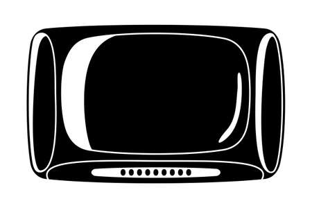 Black vintage television silhouette isolated on white background.Media theme vector illustration for icon, sticker sign, patch, certificate badge, gift card, label, poster.