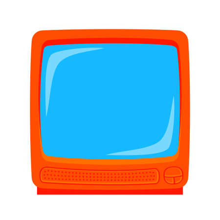 Colorful cartoon old television monitor isolated on white background.Media theme vector illustration for icon, sticker sign, patch, certificate badge, gift card, label, poster.