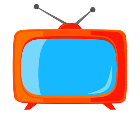 Colorful cartoon vintage tv isolated on white background.Media theme vector illustration for icon, sticker sign, patch, certificate badge, gift card, label, poster.