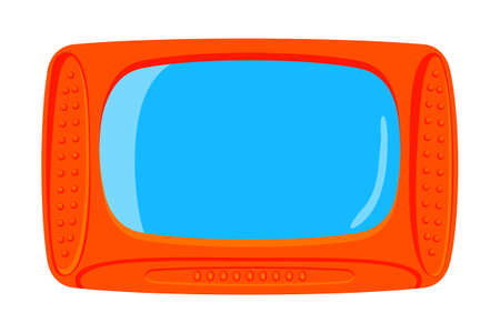 Colorful cartoon old television isolated on white background.Media theme vector illustration for icon, sticker sign, patch, certificate badge, gift card, label, poster.