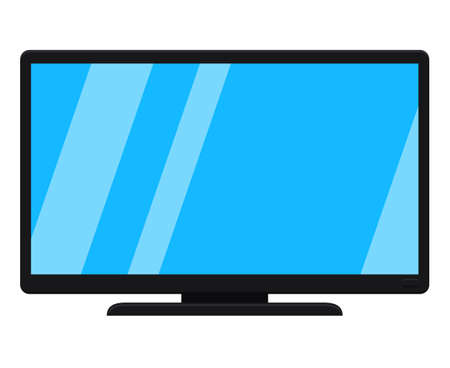 Cartoon black modern tv isolated on white. Media theme vector illustration for icon, sticker sign, patch, certificate badge, gift card, label, poster.