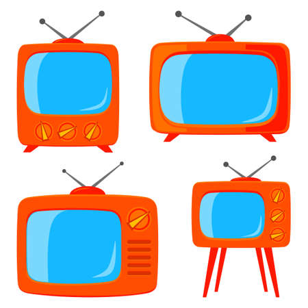 Orange cartoon various retro tv set isolated on white background.Media theme vector illustration for icon, sticker sign, patch, certificate badge, gift card, label, poster. Çizim